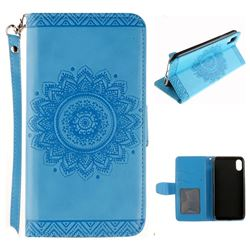 Embossed Datura Flower PU Leather Wallet Case for iPhone XS / X / 10 (5.8 inch) - Blue