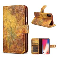 Luxury Retro Forest Series Leather Wallet Case for iPhone XS / X / 10 (5.8 inch) - Yellow