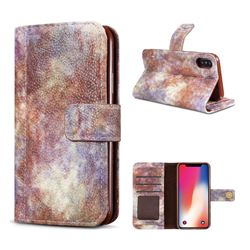Luxury Retro Forest Series Leather Wallet Case for iPhone XS / X / 10 (5.8 inch) - White