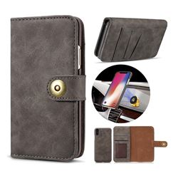 Luxury Vintage Split Separated Leather Wallet Case for iPhone XS / X / 10 (5.8 inch) - Black