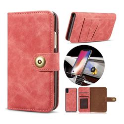 Luxury Vintage Split Separated Leather Wallet Case for iPhone XS / X / 10 (5.8 inch) - Carmine