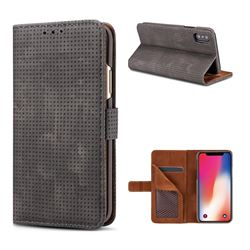 Luxury Vintage Mesh Monternet Leather Wallet Case for iPhone XS / X / 10 (5.8 inch) - Black