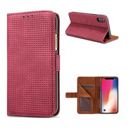 Luxury Vintage Mesh Monternet Leather Wallet Case for iPhone XS / X / 10 (5.8 inch) - Rose