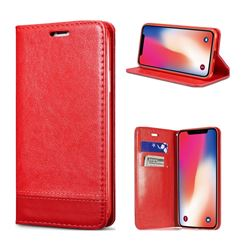 Magnetic Suck Stitching Slim Leather Wallet Case for iPhone XS / X / 10 (5.8 inch) - Red