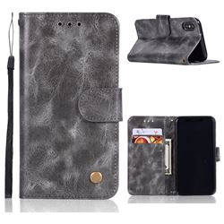 Luxury Retro Leather Wallet Case for iPhone XS / X / 10 (5.8 inch) - Gray