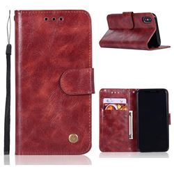 Luxury Retro Leather Wallet Case for iPhone XS / X / 10 (5.8 inch) - Wine Red