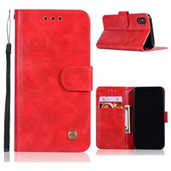 Luxury Retro Leather Wallet Case for iPhone XS / X / 10 (5.8 inch) - Red