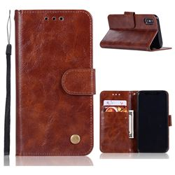 Luxury Retro Leather Wallet Case for iPhone XS / X / 10 (5.8 inch) - Brown