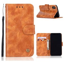 Luxury Retro Leather Wallet Case for iPhone XS / X / 10 (5.8 inch) - Golden