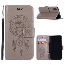 Intricate Embossing Owl Campanula Leather Wallet Case for iPhone XS / X / 10 (5.8 inch) - Grey