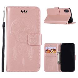 Intricate Embossing Owl Campanula Leather Wallet Case for iPhone XS / X / 10 (5.8 inch) - Rose Gold