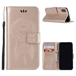 Intricate Embossing Owl Campanula Leather Wallet Case for iPhone XS / X / 10 (5.8 inch) - Champagne