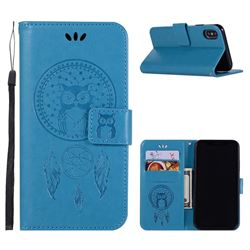 Intricate Embossing Owl Campanula Leather Wallet Case for iPhone XS / X / 10 (5.8 inch) - Blue