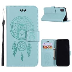 Intricate Embossing Owl Campanula Leather Wallet Case for iPhone XS / X / 10 (5.8 inch) - Green
