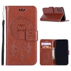 Intricate Embossing Owl Campanula Leather Wallet Case for iPhone XS / X / 10 (5.8 inch) - Brown