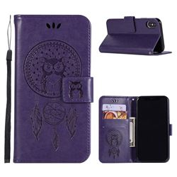 Intricate Embossing Owl Campanula Leather Wallet Case for iPhone XS / X / 10 (5.8 inch) - Purple