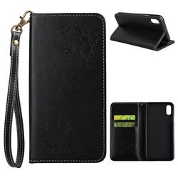 Intricate Embossing Slim Butterfly Rose Leather Holster Case for iPhone XS / X / 10 (5.8 inch) - Black