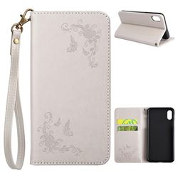 Intricate Embossing Slim Butterfly Rose Leather Holster Case for iPhone XS / X / 10 (5.8 inch) - Grey