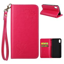 Intricate Embossing Slim Butterfly Rose Leather Holster Case for iPhone XS / X / 10 (5.8 inch) - Red