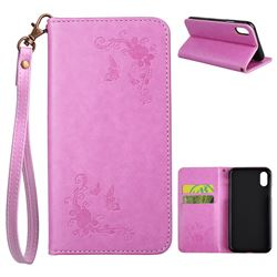 Intricate Embossing Slim Butterfly Rose Leather Holster Case for iPhone XS / X / 10 (5.8 inch) - Rose