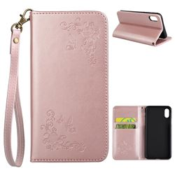 Intricate Embossing Slim Butterfly Rose Leather Holster Case for iPhone XS / X / 10 (5.8 inch) - Rose Gold