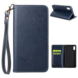 Intricate Embossing Slim Butterfly Rose Leather Holster Case for iPhone XS / X / 10 (5.8 inch) - Navy