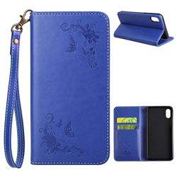Intricate Embossing Slim Butterfly Rose Leather Holster Case for iPhone XS / X / 10 (5.8 inch) - Blue