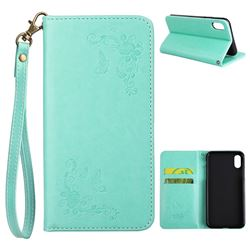 Intricate Embossing Slim Butterfly Rose Leather Holster Case for iPhone XS / X / 10 (5.8 inch) - Mint Green