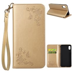 Intricate Embossing Slim Butterfly Rose Leather Holster Case for iPhone XS / X / 10 (5.8 inch) - Golden