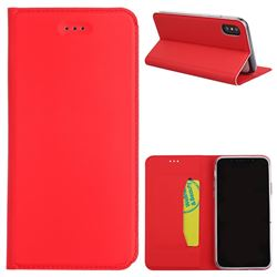 Ultra Slim Automatic Suction Leather Wallet Case for iPhone XS / X / 10 (5.8 inch) - Red