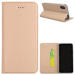 Ultra Slim Automatic Suction Leather Wallet Case for iPhone XS / X / 10 (5.8 inch) - Champagne