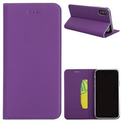 Ultra Slim Automatic Suction Leather Wallet Case for iPhone XS / X / 10 (5.8 inch) - Purple