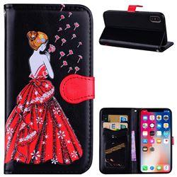 Dandelion Wedding Dress Girl Flash Powder Leather Wallet Holster Case for iPhone XS / X / 10 (5.8 inch) - Black