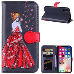 Dandelion Wedding Dress Girl Flash Powder Leather Wallet Holster Case for iPhone XS / X / 10 (5.8 inch) - Concrete Grey