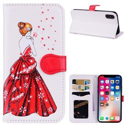 Dandelion Wedding Dress Girl Flash Powder Leather Wallet Holster Case for iPhone XS / X / 10 (5.8 inch) - White