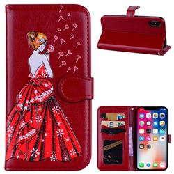 Dandelion Wedding Dress Girl Flash Powder Leather Wallet Holster Case for iPhone XS / X / 10 (5.8 inch) - Red
