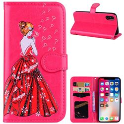 Dandelion Wedding Dress Girl Flash Powder Leather Wallet Holster Case for iPhone XS / X / 10 (5.8 inch) - Rose