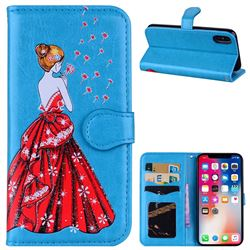 Dandelion Wedding Dress Girl Flash Powder Leather Wallet Holster Case for iPhone XS / X / 10 (5.8 inch) - Blue
