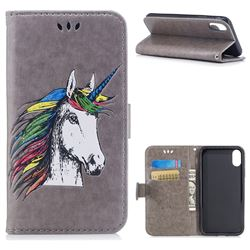 Watercolor Unicorn Leather Wallet Holster Case for iPhone XS / X / 10 (5.8 inch) - Grey