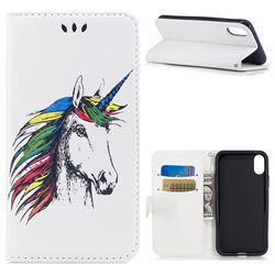 Watercolor Unicorn Leather Wallet Holster Case for iPhone XS / X / 10 (5.8 inch) - White