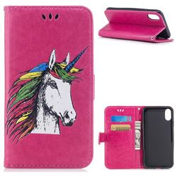 Watercolor Unicorn Leather Wallet Holster Case for iPhone XS / X / 10 (5.8 inch) - Rose
