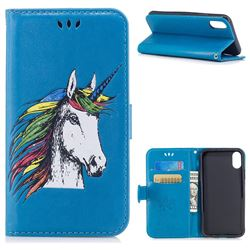 Watercolor Unicorn Leather Wallet Holster Case for iPhone XS / X / 10 (5.8 inch) - Blue