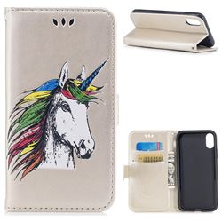 Watercolor Unicorn Leather Wallet Holster Case for iPhone XS / X / 10 (5.8 inch) - Champagne