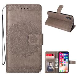 Intricate Embossing Totem Flower Leather Wallet Case for iPhone XS / X / 10 (5.8 inch) - Gray