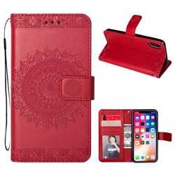 Intricate Embossing Totem Flower Leather Wallet Case for iPhone XS / X / 10 (5.8 inch) - Red