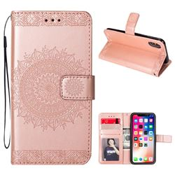 Intricate Embossing Totem Flower Leather Wallet Case for iPhone XS / X / 10 (5.8 inch) - Rose Gold