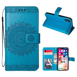 Intricate Embossing Totem Flower Leather Wallet Case for iPhone XS / X / 10 (5.8 inch) - Blue