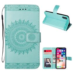 Intricate Embossing Totem Flower Leather Wallet Case for iPhone XS / X / 10 (5.8 inch) - Mint Green