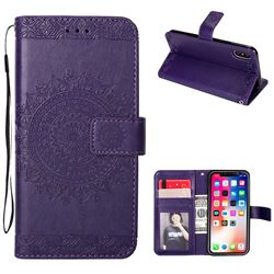 Intricate Embossing Totem Flower Leather Wallet Case for iPhone XS / X / 10 (5.8 inch) - Purple