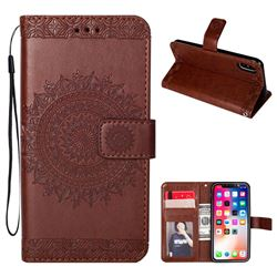 Intricate Embossing Totem Flower Leather Wallet Case for iPhone XS / X / 10 (5.8 inch) - Brown